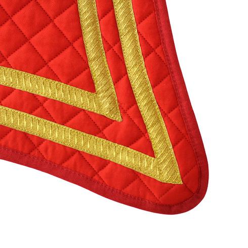 Barock Schabracke Alta Escuela Geschweift in spanischen Farben Rot Gold Detail 1 Picadera