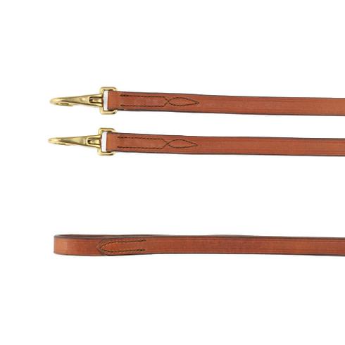 Leder Zügel Glatt mit Snaps Braun Gold Picadera