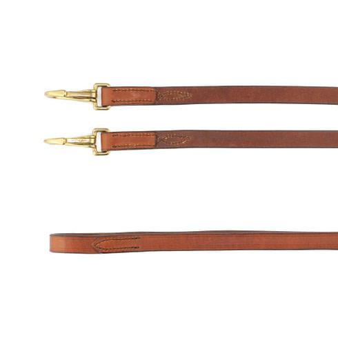 Leder Zügel Glatt mit Snaps Braun Gold Rückseite Picadera