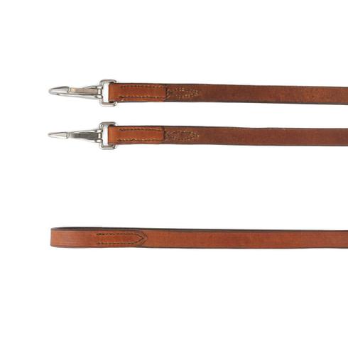 Leder Zügel Glatt mit Snaps Braun Silber Rückseite Picadera
