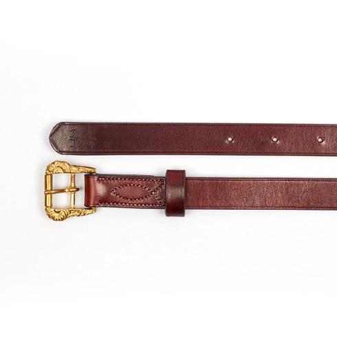 Barocke Steigbügelriemen aus braunem Leder mit goldenen Cortesia-Schnallen bei Picadera