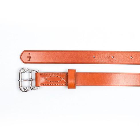 Barocke Steigbügelriemen aus havannafarbenem Leder mit silbernen Cortesia-Schnallen bei Picadera