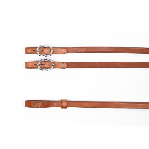 Barocke Zügel aus naturfarbenem Leder mit silbernen Cortesia Schnallen bei Picadera