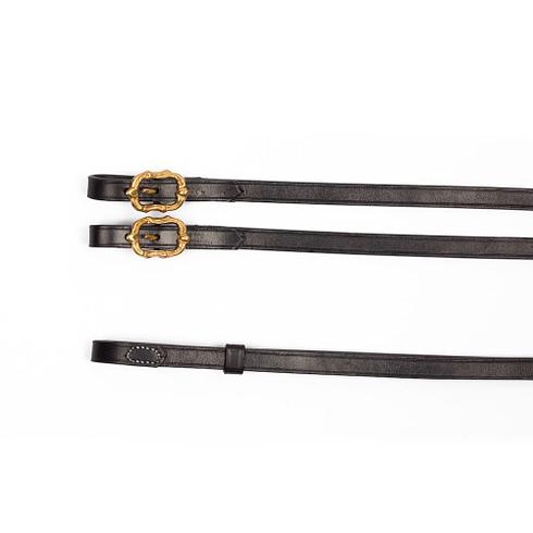 Barocke Zügel aus schwarzem Leder mit goldenen Cortesia Schnallen bei Picadera