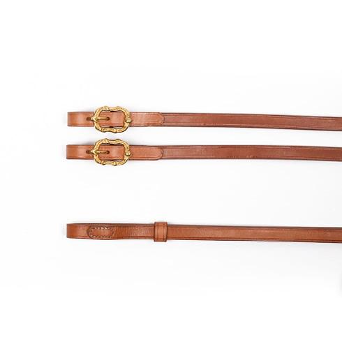 Barock Kandarenzügel aus naturbraunem Leder mit goldenen Cortesia Schnallen von Picadera
