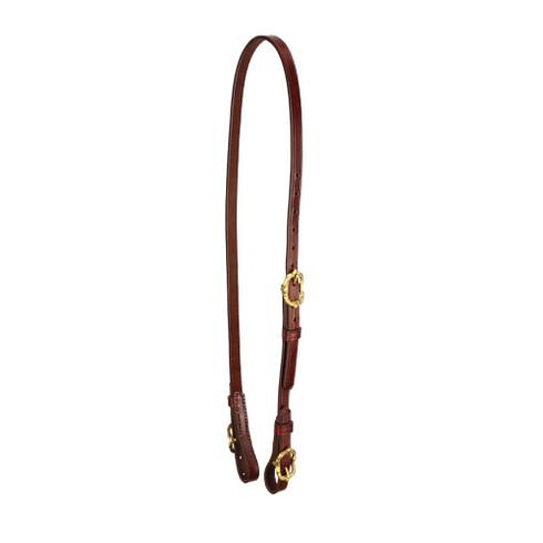 Semitrense und Unterlegriemen für Kandaren aus braunem Leder mit goldfarbenen Cortesiaschnallen von Picadera