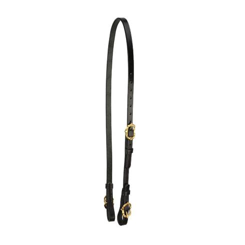 Semitrense und Unterlegriemen für Kandaren aus schwarzem Leder mit goldfarbenen Cortesiaschnallen von Picadera