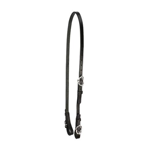 Semitrense und Unterlegriemen für Kandaren aus schwarzem Leder mit silberfarbenen Cortesiaschnallen von Picadera